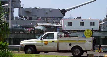 Ford Island  Pearl Harbor Navy Base  Fire Department   The Battleship  Missouri in the background Fire Service Trivia and FAQs. Base Lighting And Fire Limited. Home Design Ideas